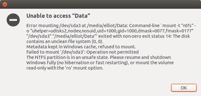 Memperbaiki Partisi NTFS yang Tidak dapat di Mount di GNU/Linux